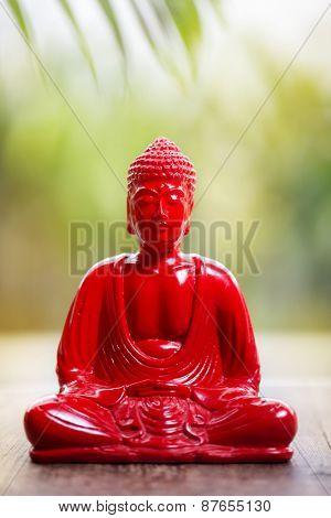 Red Buddha over bright nature background