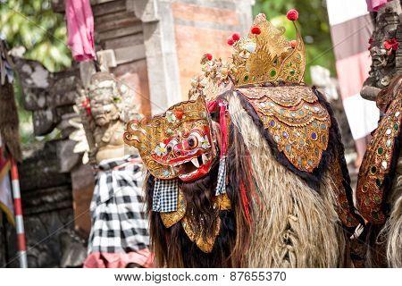 Barong dance mask of mythological animal, Bali, Indonesia