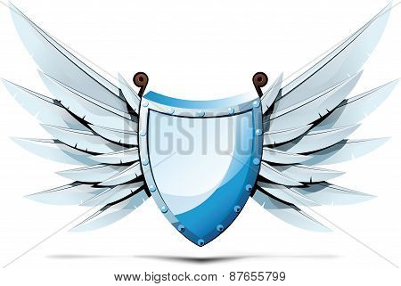 Shield with wings of swords