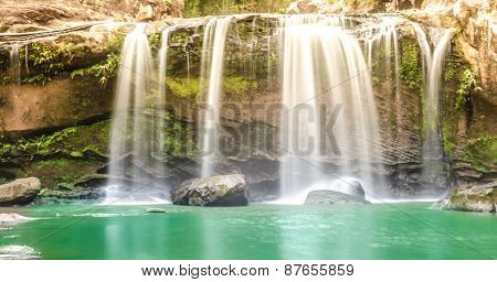 Chattrakan Waterfall in Thailand water fall in deep forest at border of Phitsanulok province Thailan