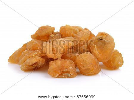 Dried Longan Fruit On White Background