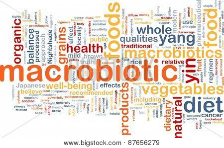 Background text pattern concept wordcloud illustration of macrobiotic diet