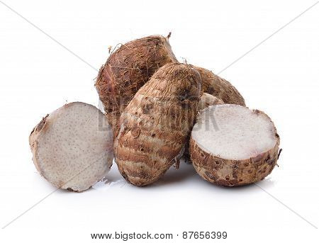 Boiled Taro Root On A White Background
