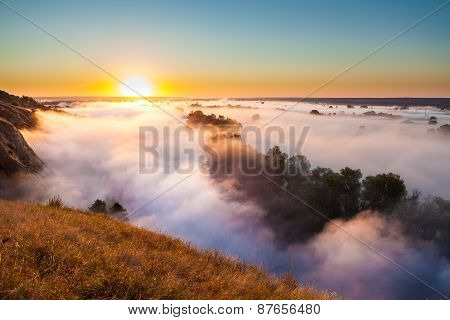Misty dawn from hill over Valley and the forest