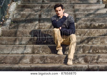 Attractive Young Handsome Man, Model Of Fashion In Urban Background