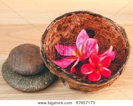Spa Stones With Frangipani Flower. - Concept For Spa And Meditation...