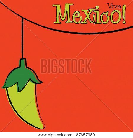 Hand Drawn Chili Pepper String Card In Vector Format.