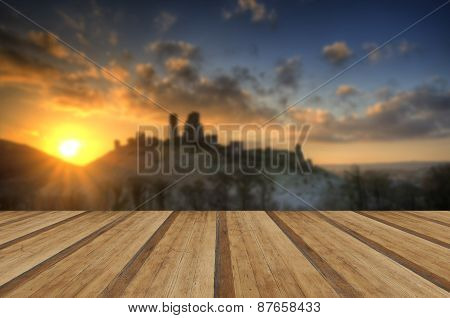 Castle In Landscape Winter Sunrise With Wooden Planks Floor