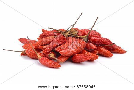 Red Dry Chillies Isolated On White Background