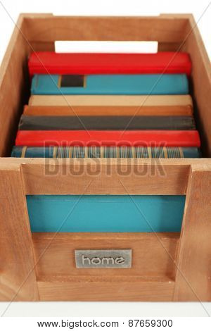 Books in wooden box