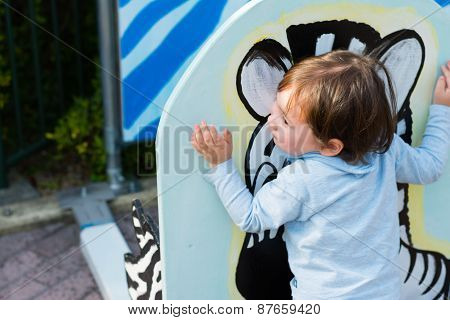 Boy Hugging Zebra Picture