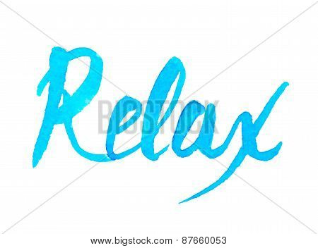 Handwritten blue watercolor calligrapical summer design element