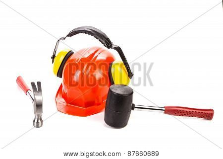 Hard hat with hammers.