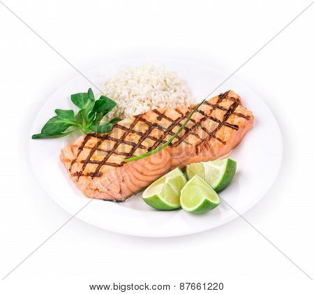 Roasted salmon fillets with rice.
