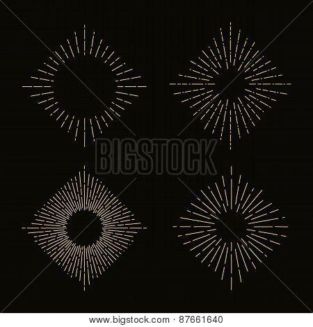 Set of retro sunbursts