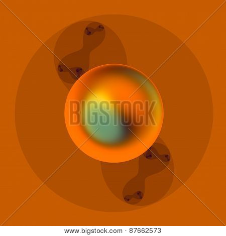 Abstract metal sphere. Molecule art. Geometric decorative image. 3d logo design. Creative graphic.