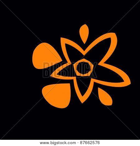 Flower juice. Abstract orange black background. Fresh splash. Floral art illustration. Symbol.