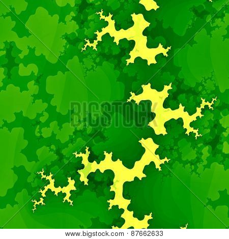 Green forest fractal or clouds. Creative abstract concept. Grunge background. Unique digital design.