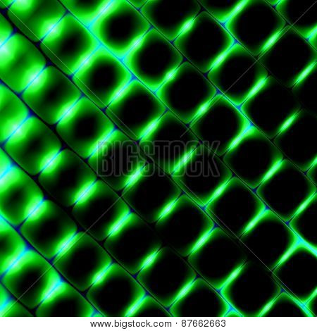 3d square shapes under green light. Beautiful science background. Abstract pattern illustration.