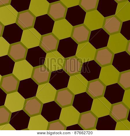 Abstract geometric honeycomb pattern. Art style mosaic background. Gray green brown hexagons.