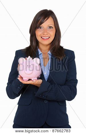 Businesswoman Holding Pig Money-box
