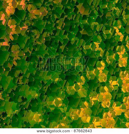 Abstract green geometric background. Art pattern illustration. Decorative honeycomb shapes.