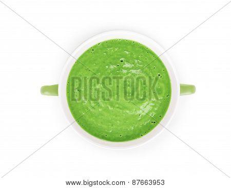 Broccoli cream soup on white.