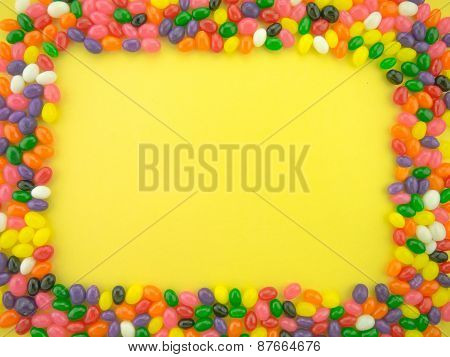 Jelly Beand Frame And Background (yellow Background)