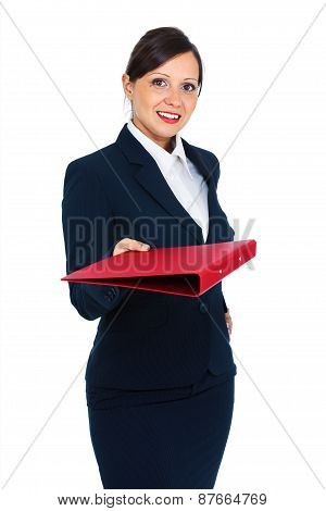Businesswoman Giving A Folder