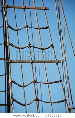 Rigging Ropes At The Old Sailing Vessel