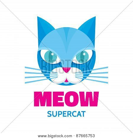 Meow - supercat - vector concept illustration. Blue cat animal.