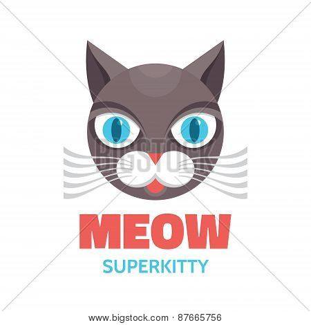 Meow - superkitty - vector concept illustration. Cat animal.