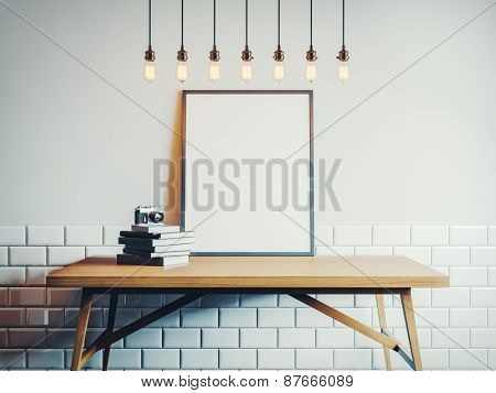 Canvas Template On The Wood Table In White Room