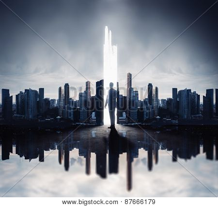 Double Exposure Concept With Businessman And Skyscrapers