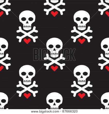Skull and heart on black background - seamless vector pattern.