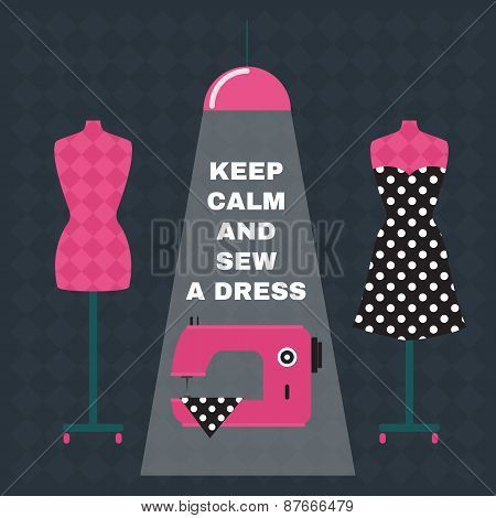 Poster. Greeting Card With Sewing Accessories And Qoute.