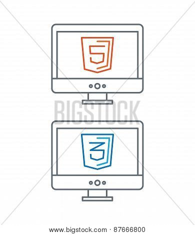 line illustration of web development icons, html and css - isolated on white background