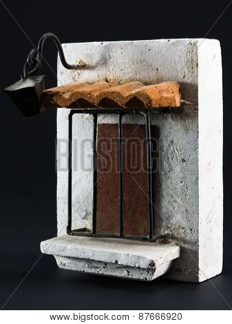 Lantern Above Door, Pumice-stone Souvenir On Black Background
