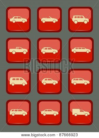 Car Icons Set On A Red Button