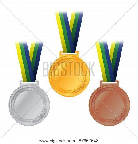 Olympic Medals Gold Silver Bronze Illustration