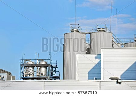 Brewery beer processing silos