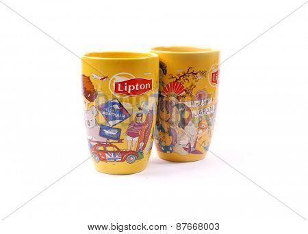 Kiev, Ukraine - Apl. 10, 2015: Lipton Tea cups. Exclusive series, specifically for Ukraine