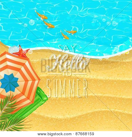 Summer holidays illustration with beach and ocean. Top view.