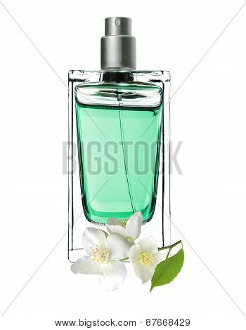 Woman Perfume In Beautiful Bottle And Jasmine Flowers Isolated On White