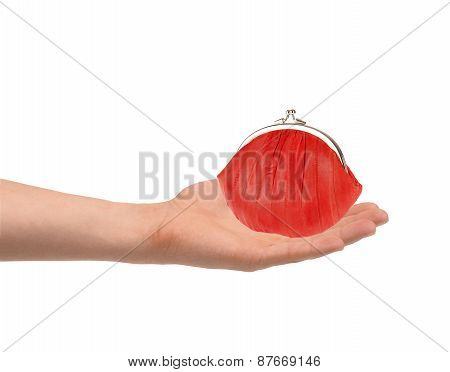 Red Wallet In Man Hand Isolated On White Background