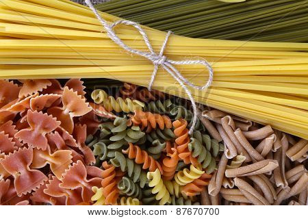 Different types of pasta close up