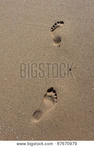 Footstep on beach in Morocco near to Sidi Ifni