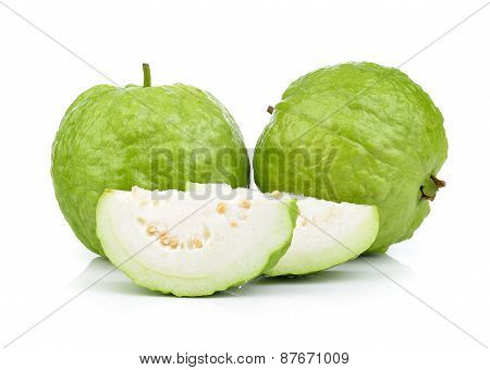 Fresh Guava Fruit On A White Background