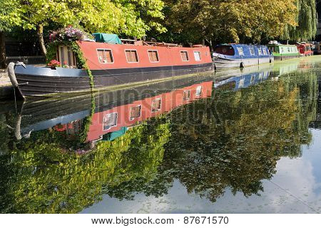 Canal boats in UK.