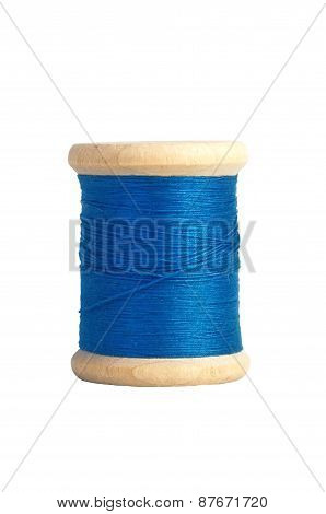 Blue Thread Bobbin Isolated On White